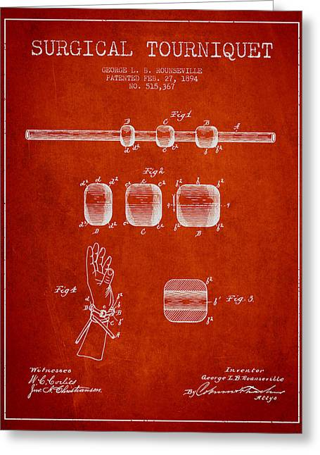 Surgeon Greeting Cards - Surgical tourniquet patent from 1894 - Red Greeting Card by Aged Pixel