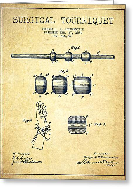 Surgeon Greeting Cards - Surgical tourniquet patent from 1894 - Vintage Greeting Card by Aged Pixel