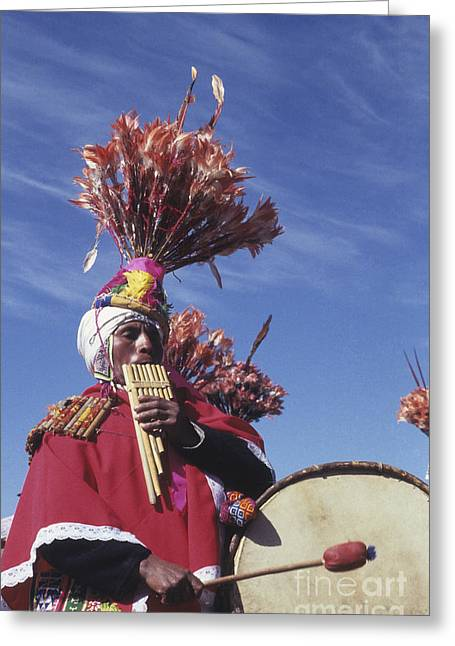 Panpipes Greeting Cards - Suri sicuri musician Bolivia Greeting Card by James Brunker