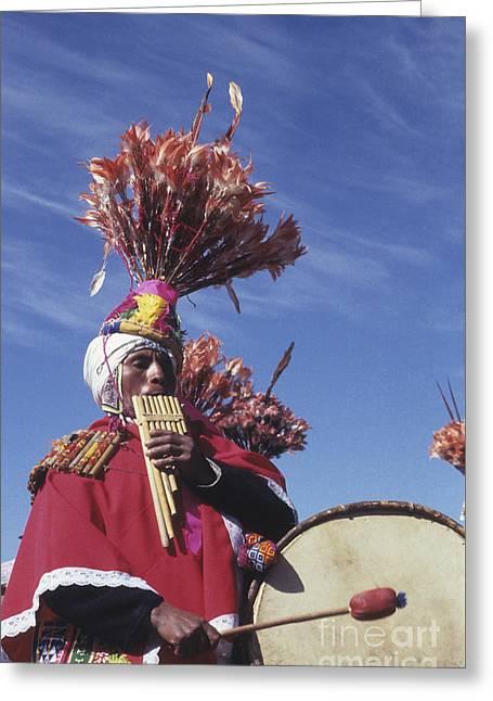 Suri Sicuri Musician Bolivia Greeting Card by James Brunker