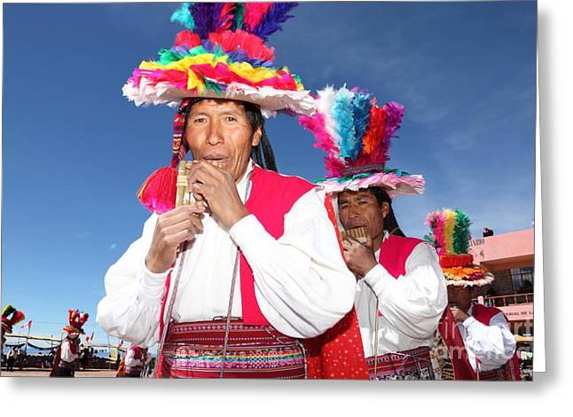 Panpipes Greeting Cards - Suri sikuris Dancers Peru Greeting Card by James Brunker