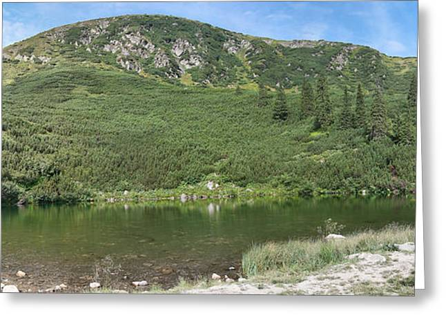 Carpathian Mountains Greeting Cards - Surianu Peak and Lake Greeting Card by Gabriela Insuratelu