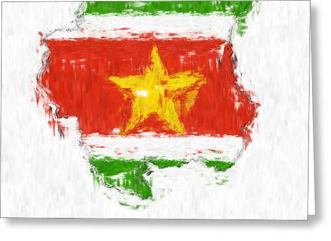 Dap Greeting Cards - Suriname Painted Flag Map Greeting Card by Antony McAulay