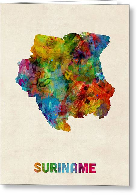 Maps Greeting Cards - Suriname Watercolor Map Greeting Card by Michael Tompsett