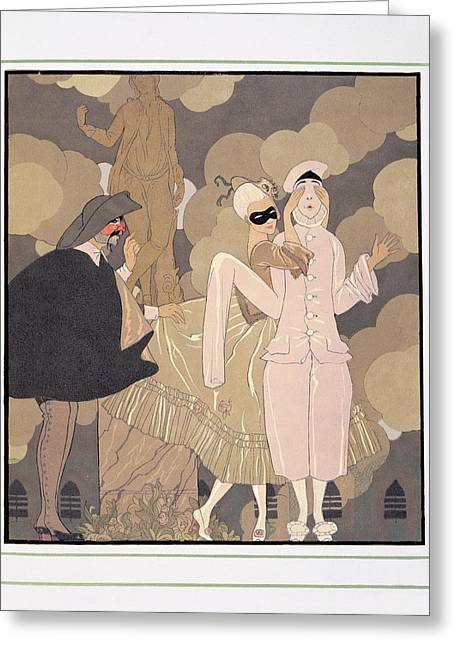 Pierrot Greeting Cards - Surprise Greeting Card by Georges Barbier