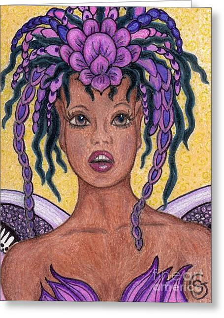 African-american Drawings Greeting Cards - Surprise It is the Iris Fairy Greeting Card by Sherry Goeben