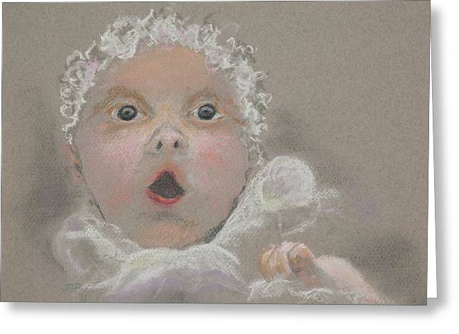 Surprise Pastels Greeting Cards - Surprised Baby Greeting Card by Jocelyn Paine