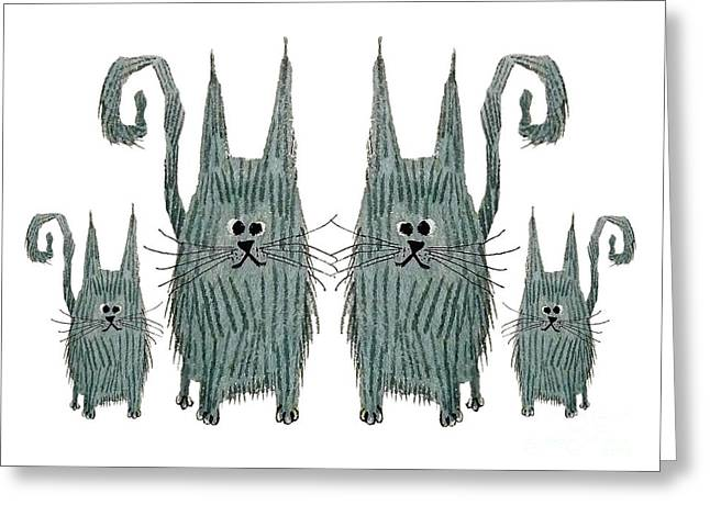 Surprised Cats Greeting Card by Donovan OMalley