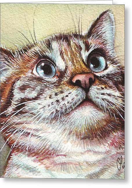 Animal Portraits Greeting Cards - Surprised Kitty Greeting Card by Olga Shvartsur