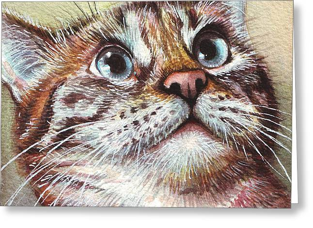 Animal Art Greeting Cards - Surprised Kitty Greeting Card by Olga Shvartsur