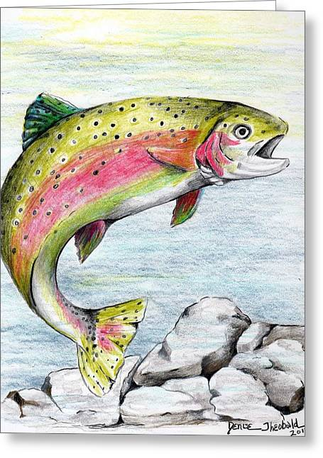 Rainbow Trout Drawings Greeting Cards - Surprised Streamer Greeting Card by Denise Theobald