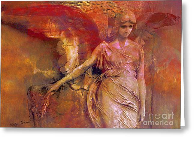 Angel Art Greeting Cards - Surreal Angel Art Photography - Dreamy Impressionistic Surreal Ethereal Angel Art Greeting Card by Kathy Fornal