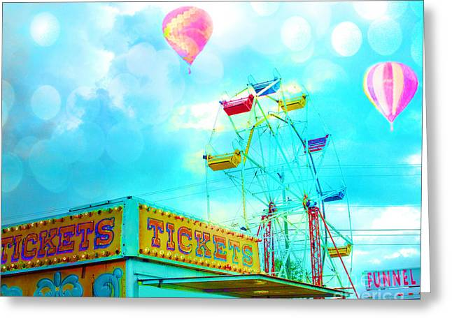 Carnival Fun Festival Art Decor Greeting Cards - Surreal Aqua Teal Carnival Tickets Booth With Ferris Wheel and Hot AIr Balloons - Carnival Fair Art Greeting Card by Kathy Fornal