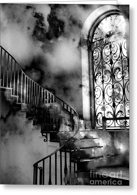 Storm Cloud Art Prints Greeting Cards - Surreal Black White Fantasy Staircase to Heaven Greeting Card by Kathy Fornal