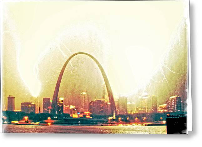 Mississippi River Pyrography Greeting Cards - Surreal Blowout St Louis Greeting Card by Garry McMichael