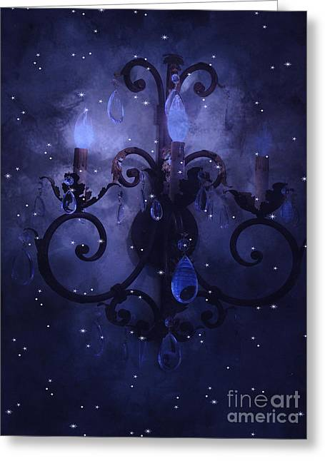 Fairytale Greeting Cards - Surreal Blue Purple Chandelier Night Against Starry Blue Sky - Fantasy Blue Chandelier Art Greeting Card by Kathy Fornal