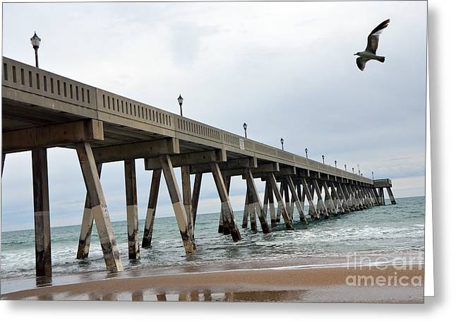 Surreal Blue Sky Ocean Coastal Fishing Pier Seagull North Carolina Atlantic Ocean Greeting Card by Kathy Fornal