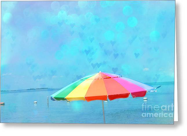 Ethereal Beach Scene Greeting Cards - Surreal Blue Summer Beach Ocean Coastal Art - Beach Umbrella  Greeting Card by Kathy Fornal