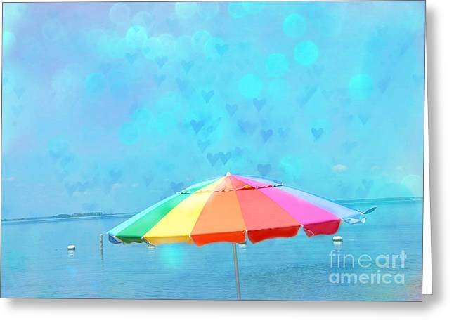 Surreal Blue Summer Beach Ocean Coastal Art - Beach Umbrella  Greeting Card by Kathy Fornal