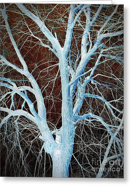 Bare Trees Mixed Media Greeting Cards - Surreal Blue Tree Greeting Card by Chalet Roome-Rigdon
