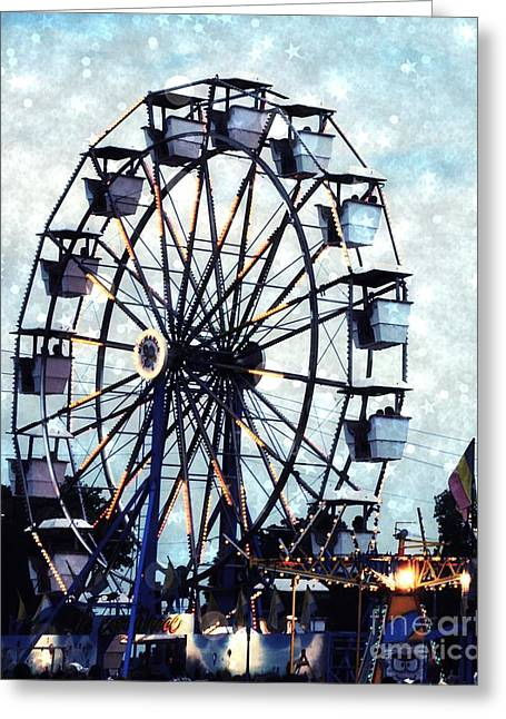 Festivals Fairs Carnival Photos Greeting Cards - Surreal Carnival Ferris Wheel Baby Boy Blue Carnival Rides - Baby Boy Nursery Blue Ferris Wheel Art Greeting Card by Kathy Fornal