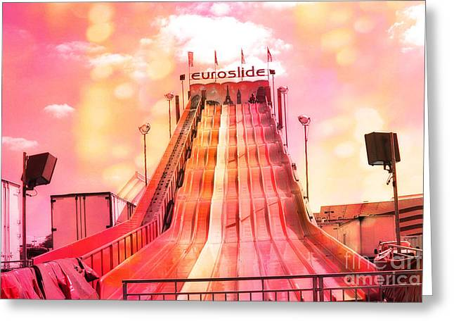 Carnival Fun Festival Art Decor Greeting Cards - Surreal Carnival Festival Fair Hot Pink and Orange Euroslide Fair Ride Greeting Card by Kathy Fornal