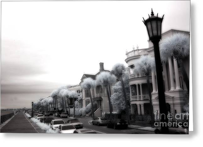 Surreal Infrared Dreamy Landscape Greeting Cards - Surreal Charleston South Carolina Battery Park Greeting Card by Kathy Fornal