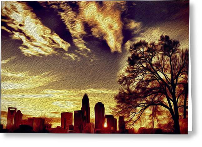 Charlotte Greeting Cards - Surreal Charlotte Silhouette Greeting Card by Paul Scolieri