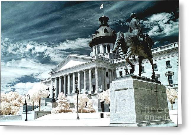 Surreal Infrared Dreamy Landscape Greeting Cards - Surreal Columbia South Carolina State House - Statue Monuments Greeting Card by Kathy Fornal