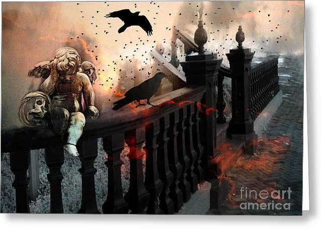 Gothic Surreal Greeting Cards - Surreal Dark Fantasy Gothic Cherub Skull and Ravens - The End Days - Apocolyptic  Greeting Card by Kathy Fornal