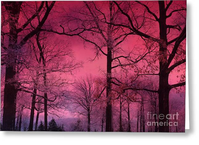 Fantasy Tree Photographs Greeting Cards - Surreal Dark Pink Fantasy Nature - Haunting Dark Pink Sky Nature Tree Forest Woodlands Greeting Card by Kathy Fornal