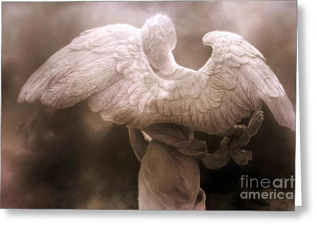 Surreal Angel Art Greeting Cards - Surreal Dreamy Angel Art Wings - Ethereal Sepia Angel Art Wings Greeting Card by Kathy Fornal