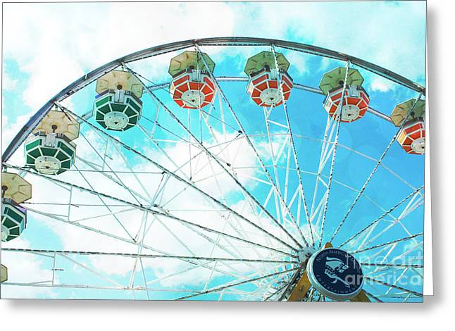 Carnival Fun Festival Art Decor Greeting Cards - Dreamy Ferris Wheel Baby Blue Sky Boy Carnival  Ferris Wheel Art - Baby Blue Nursery Ferris Wheel  Greeting Card by Kathy Fornal
