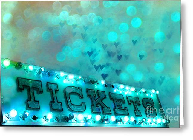 Carnival Fun Festival Art Decor Greeting Cards - Surreal Dreamy Carnival Festival Fair Aqua Teal Blue Ticket Booth - Whimsical Fantasy Carnival Art  Greeting Card by Kathy Fornal