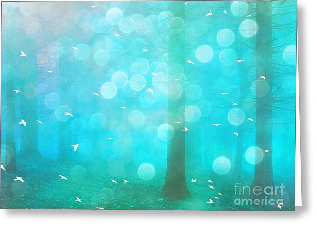 Photos Of Birds Greeting Cards - Surreal Dreamy Ethereal Aqua Teal Turquoise Woodlands Trees and Bokeh Circles Greeting Card by Kathy Fornal