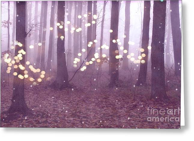 Surreal Pink Nature Prints By Kathy Fornal Greeting Cards - Surreal Dreamy Fairy Lights Ethereal Pink Lavender Woodlands Twinkling Lights Fantasy Nature  Greeting Card by Kathy Fornal