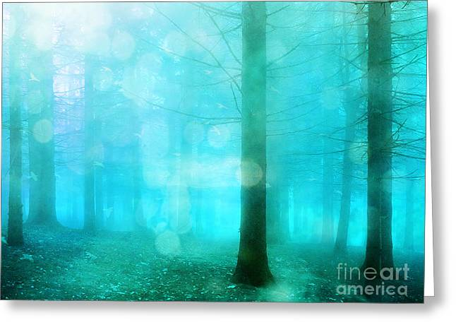 Surreal Landscape Greeting Cards - Surreal Dreamy Fantasy Bokeh Aqua Teal Turquoise Woodlands Trees  Greeting Card by Kathy Fornal