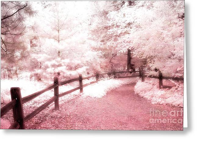 Surreal Infrared Photos By Kathy Fornal. Infrared Greeting Cards - Surreal Dreamy Fantasy Pink Infrared Path Fence Landscape Greeting Card by Kathy Fornal