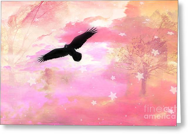 Surreal Dreamy Fantasy Ravens Pink Sky Scene Greeting Card by Kathy Fornal