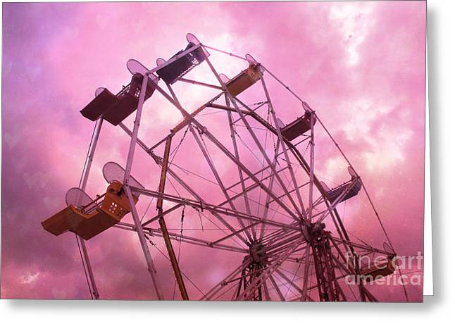 Hot Pink Ferris Wheel Photos Greeting Cards - Surreal Dreamy Hot Pink Ferris Wheel in Pink Sky - Baby Girl Nursery Art Photos Greeting Card by Kathy Fornal