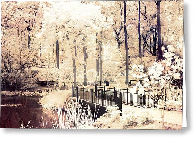 Dreamy Infrared Photo Art Greeting Cards - Surreal Dreamy Infrared Nature Bridge Landscape - Autumn Fall Infrared Greeting Card by Kathy Fornal