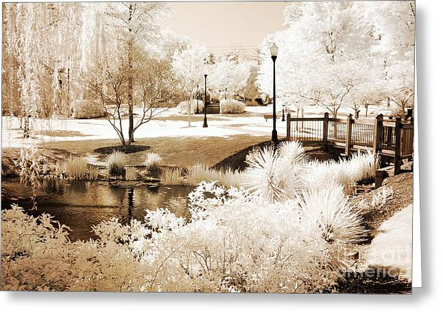 Nature Photographs Infrared Greeting Cards - Surreal Dreamy Infrared Sepia Park Landscape Greeting Card by Kathy Fornal