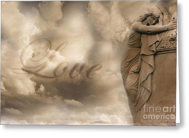 Coffin Greeting Cards - Surreal Dreamy Love Ethereal Sad Angel Cemetery Statue Sepia Clouds - Lost Love Greeting Card by Kathy Fornal