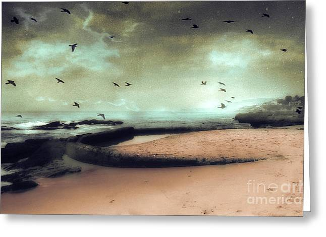 Surreal Dreamy Ocean Beach Birds Sky Nature Greeting Card by Kathy Fornal