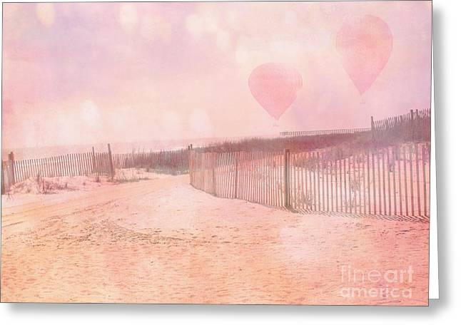 Pale Pink Coastal Photos Greeting Cards - Surreal Dreamy Pink Coastal Summer Beach Ocean With Balloons Greeting Card by Kathy Fornal