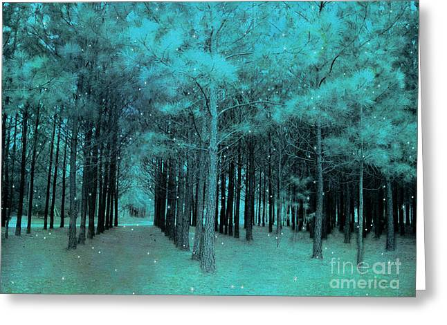 Starlit Greeting Cards - Surreal Dreamy Teal Aqua Woodlands With Stars - Fantasy Nature Trees Woodlands Photography Greeting Card by Kathy Fornal