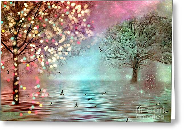 Nature Photo Framed Print Greeting Cards - Surreal Dreamy Twinkling Fantasy Sparkling Nature Trees Greeting Card by Kathy Fornal