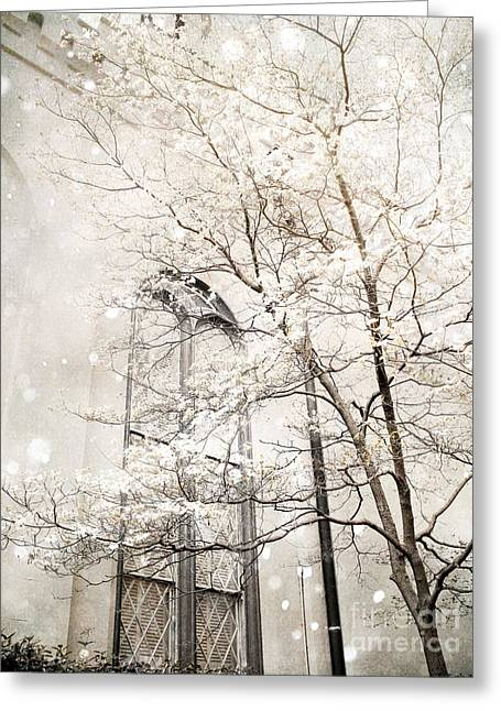 Snow White Greeting Cards - Surreal Dreamy Winter White Church Trees Greeting Card by Kathy Fornal