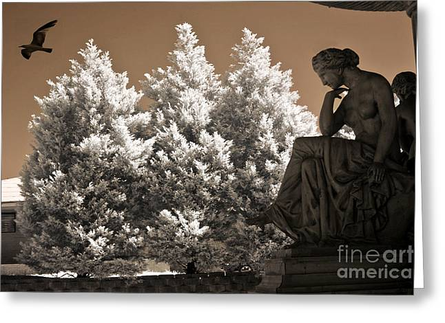 Infrared Fine Art Greeting Cards - Surreal Ethereal Dreamy Infrared Sepia Female Statue Nature Ravens Landscape Greeting Card by Kathy Fornal