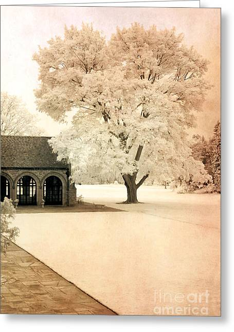 Surreal Infrared Dreamy Landscape Greeting Cards - Surreal Ethereal Infrared Sepia Nature Landscape Greeting Card by Kathy Fornal